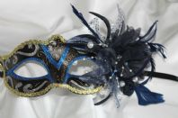 Blue Mask with White Pearls and Flower